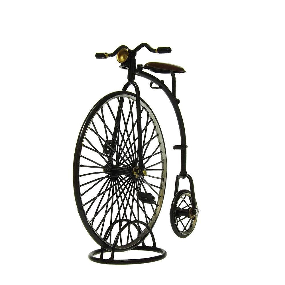 Miniatura Bicicleta Modelo 1870 The High Wheeler Penny Farthing em Ferro - 22x22 cm