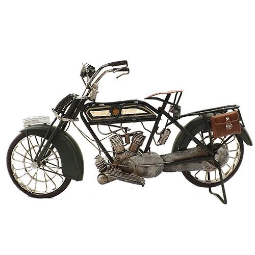 Miniatura de Bicicleta a Motor Duas Bolsas Oldway - Em Metal / 36x19 cm