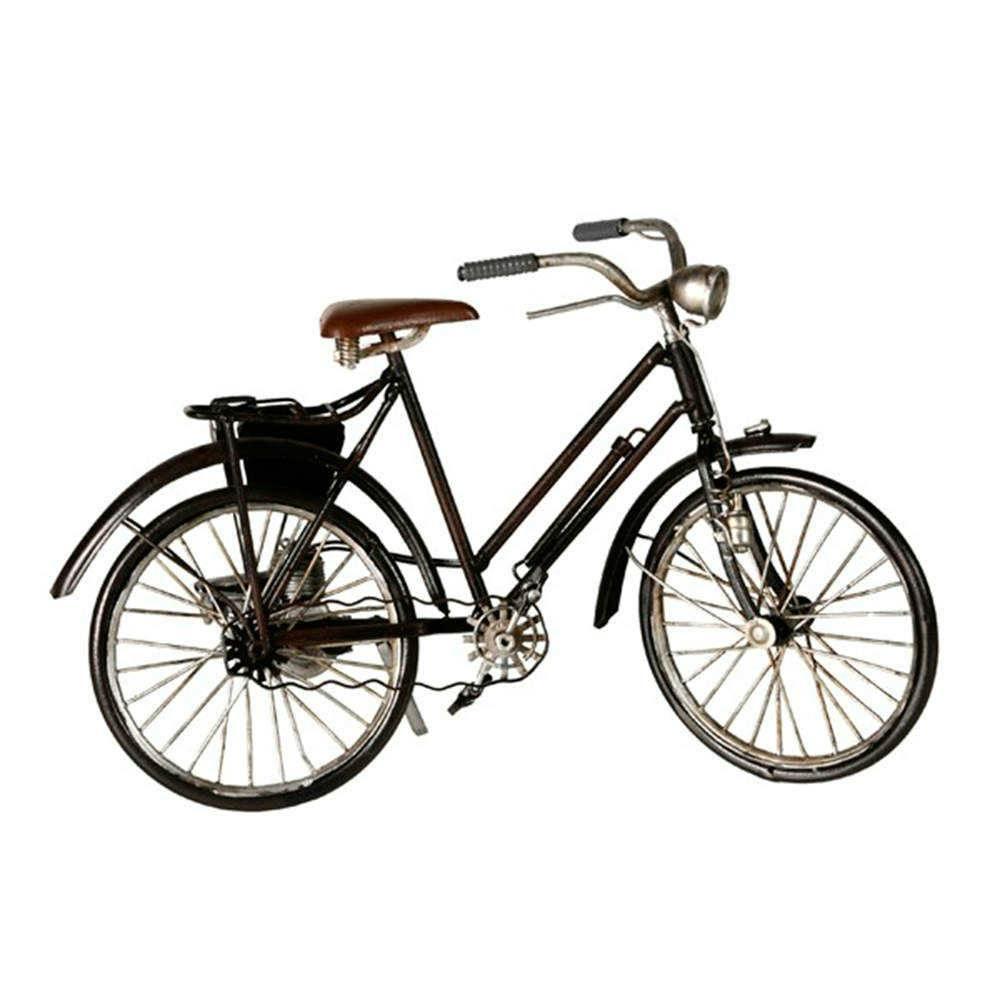 Miniatura de Bicicleta Preta com Farol em Metal - 28x17 cm
