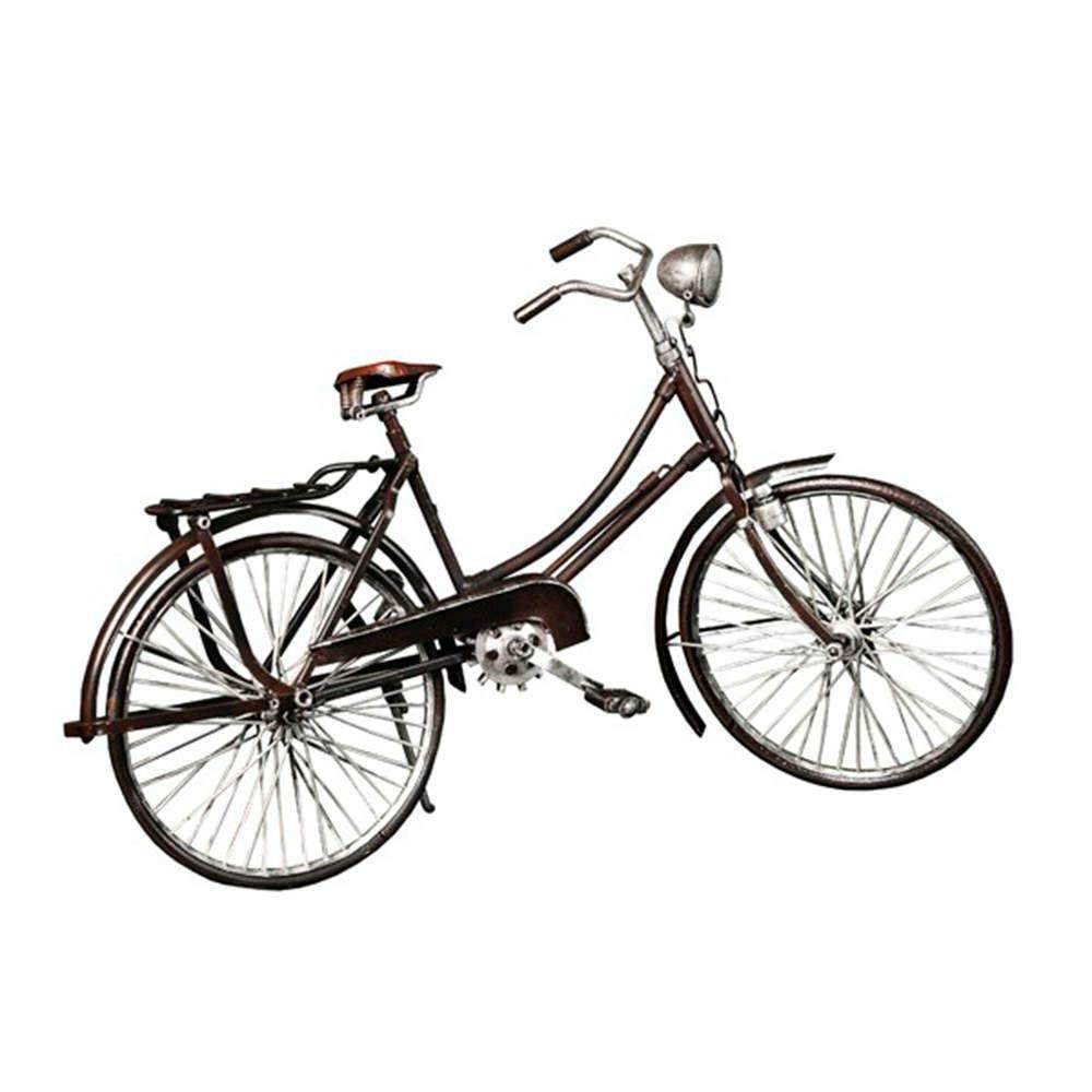 Miniatura de Bicicleta Top Tube Grande Marrom em Metal - 47x27 cm