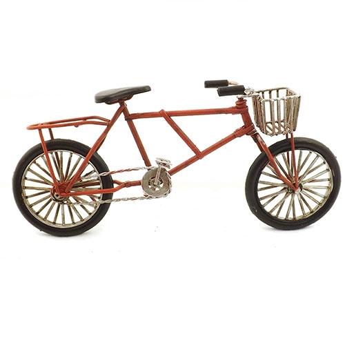 Miniatura de Bicicleta Vermelha com Cesto Oldway - Em Metal - 25x11 cm