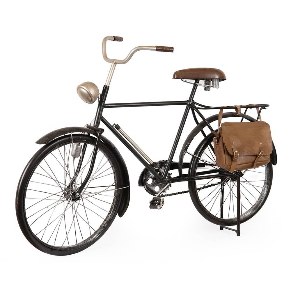Miniatura Bicicleta Vintage Preta em Ferro c/ Bolsa em Couro - 83x55 cm