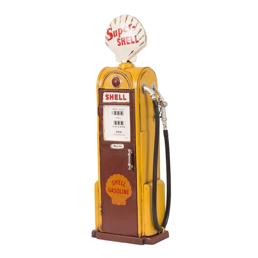 Miniatura Bomba de Combustível Super Shell Amarela em Ferro - 46x17 cm