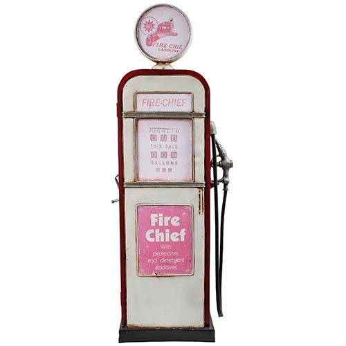 Miniatura Bomba de Gasolina Porta Objetos Branca Oldway - Em Metal - 123x48 cm
