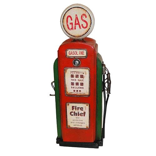 Miniatura de Bomba de Gasolina Vermelha / Verde Oldway - Em Metal - 29x63cm