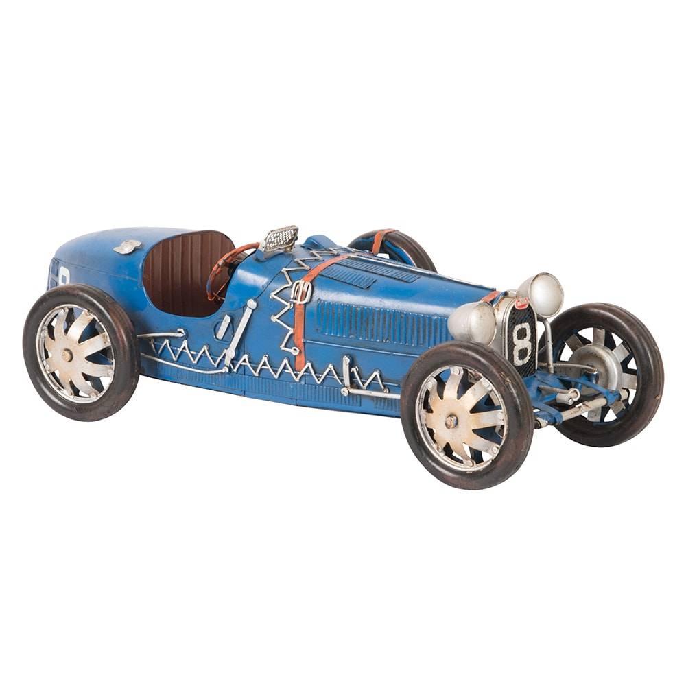 Miniatura Bugatti Type 35 Modelo Azul 1925-1929 em Ferro - 36x13 cm