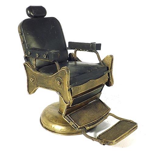 Miniatura Cadeira de Barbeiro Dourada Grande Oldway - Metal - 32x29cm
