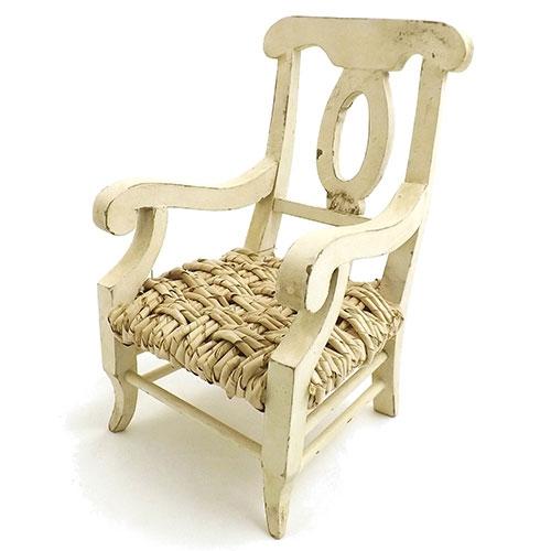 Miniatura de Cadeira - Em Madeira / Palha - 16x26 cm