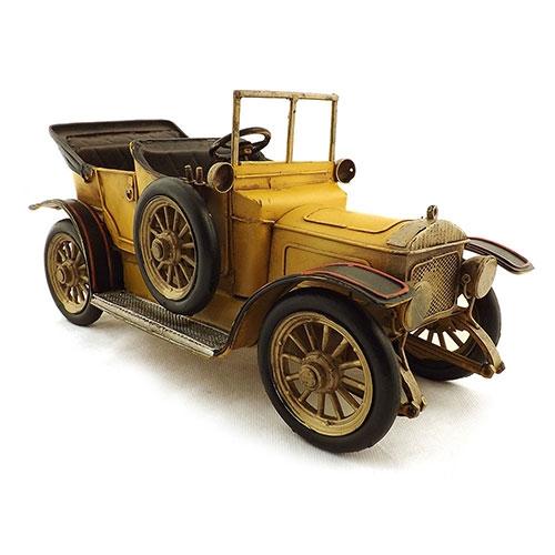 Miniatura de Calhambeque Amarelo Conversível em Metal Oldway - 32x16cm