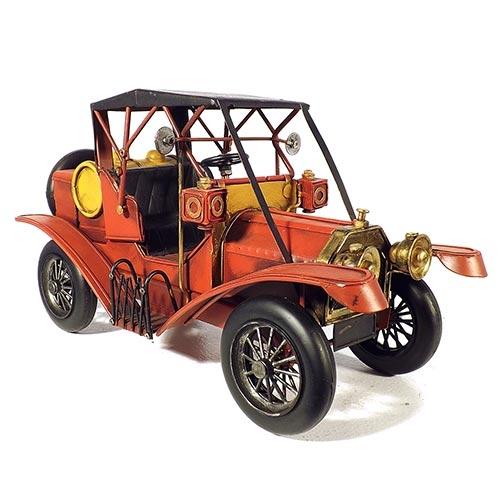 Miniatura de Calhambeque Clássico Vermelho em Metal Oldway - 32x18cm