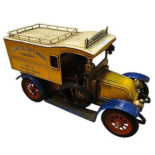 Miniatura de Calhambeque Fechado Amarelo em Metal Oldway - 32x18cm