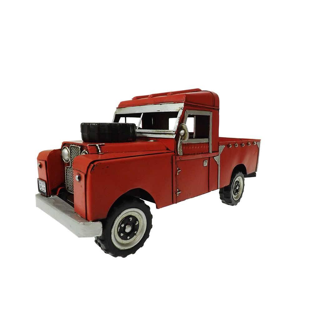 Miniatura Caminhonete Vermelha Modelo 1964 Land Rover Truck em Ferro - 29x14 cm