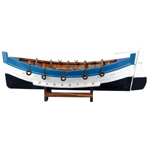 Miniatura Canoa Grande com Leme em Madeira - 40x13 cm