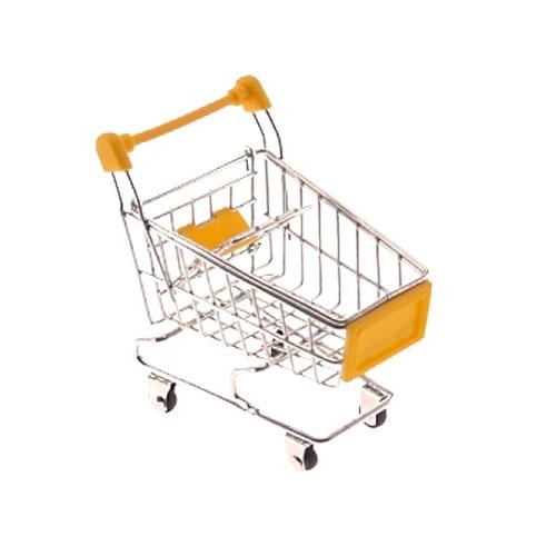 Miniatura Carrinho de Supermercado Amarelo - 12x10 cm