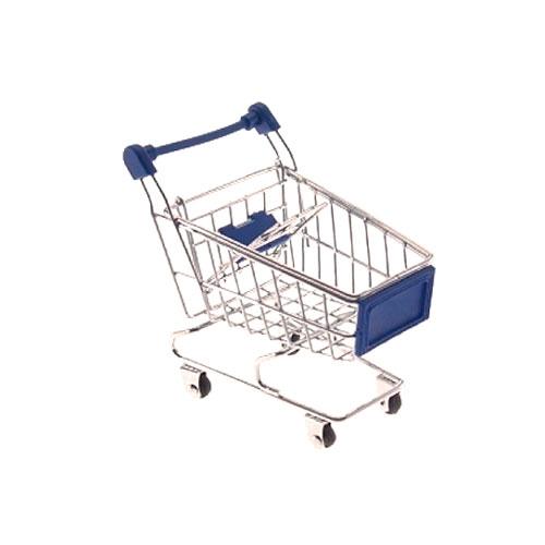 Miniatura Carrinho de Supermercado Azul - 12x10 cm