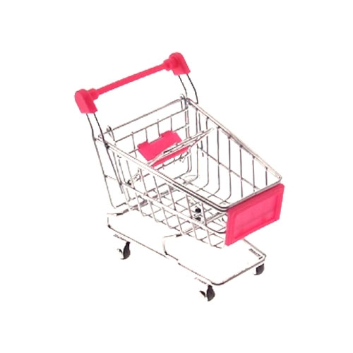 Miniatura Carrinho de Supermercado Rosa - 12x10 cm
