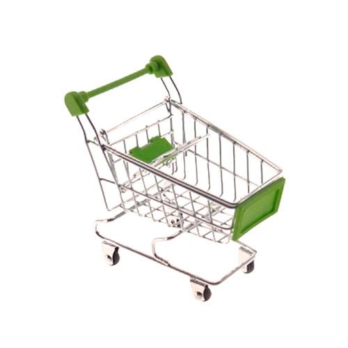 Miniatura Carrinho de Supermercado Verde -12x10 cm