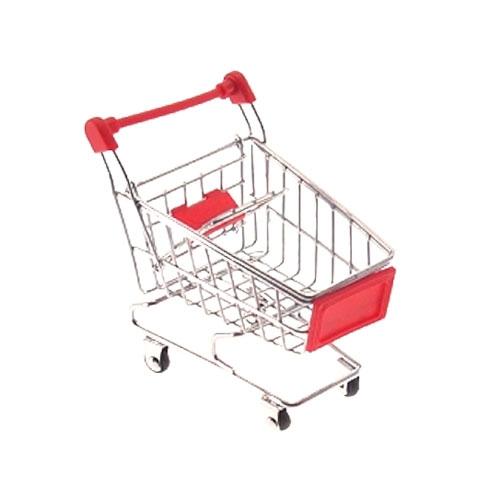 Miniatura Carrinho de Supermercado Vermelho - 12x10 cm