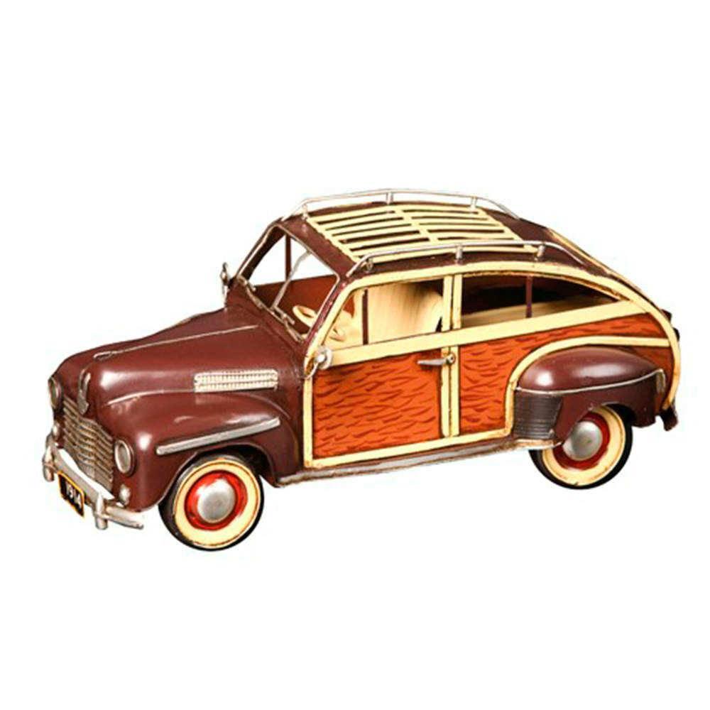 Miniatura de Carro Antigo Marrom em Metal - 34x16 cm