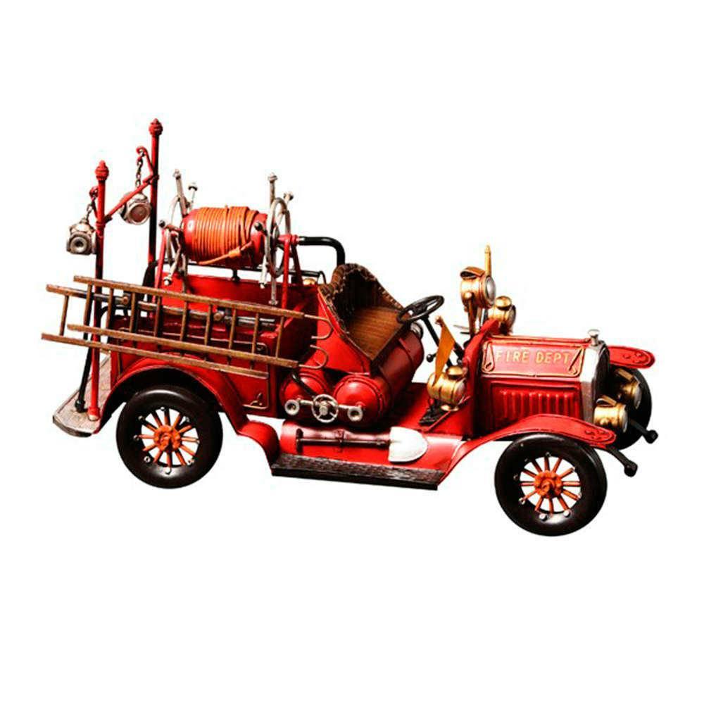 Miniatura Carro de Bombeiro Antigo Vermelho em Metal - 47x22 cm