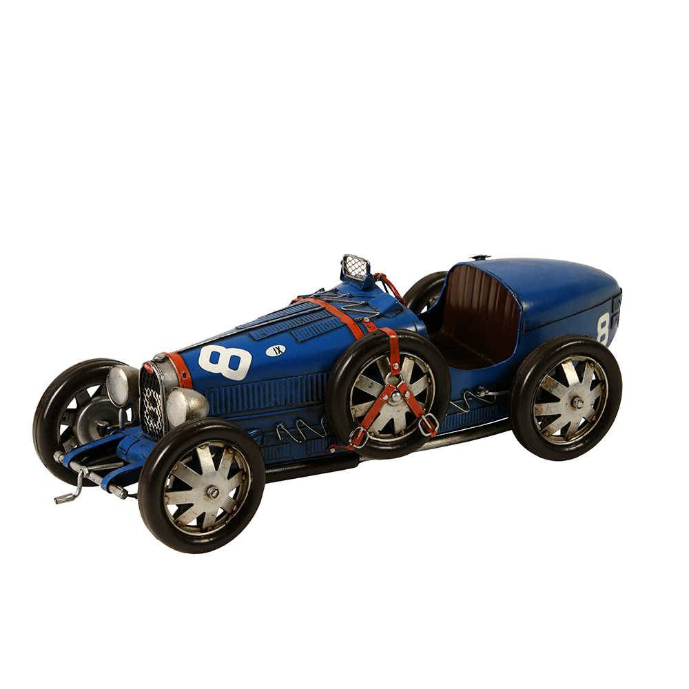 Miniatura Carro Bugatti 1925-1929 Azul em Metal - 37x12 cm