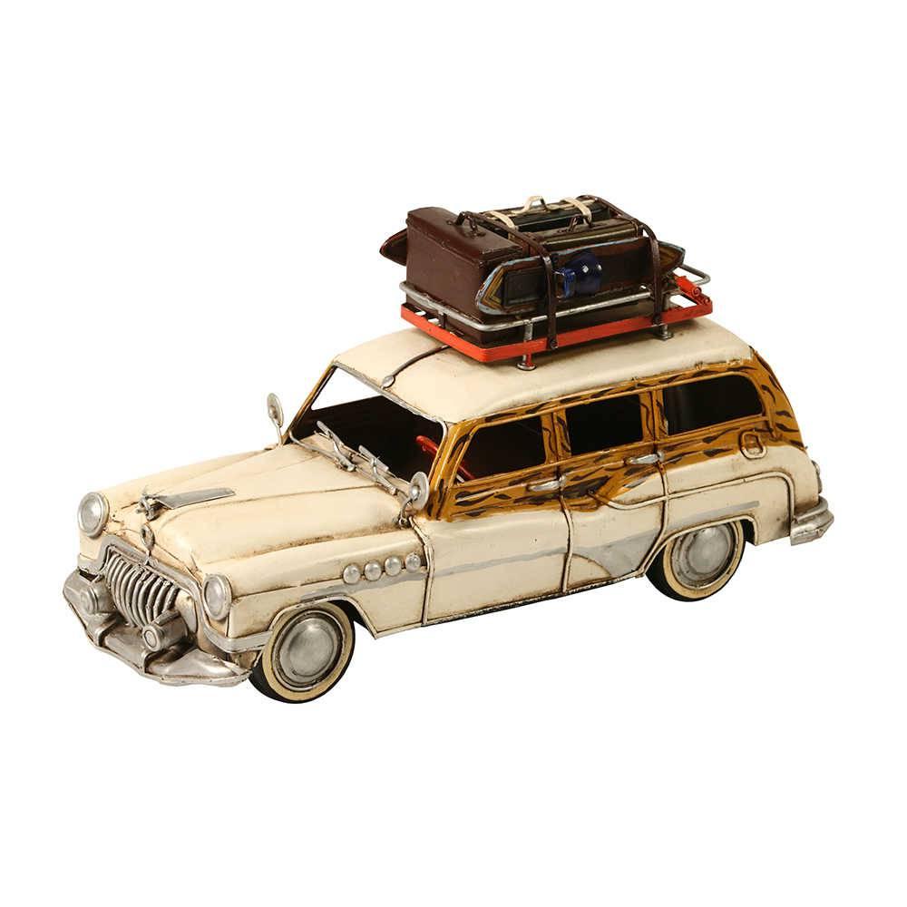 Miniatura Carro Buick Wagon 1949/1953 Branco em Metal - 30x16 cm