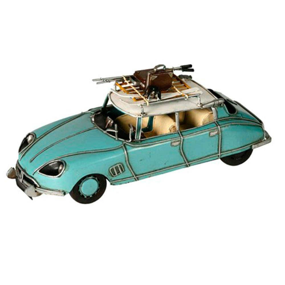 Miniatura Carro Citroen DS Antique Azul em Metal - 31x12 cm