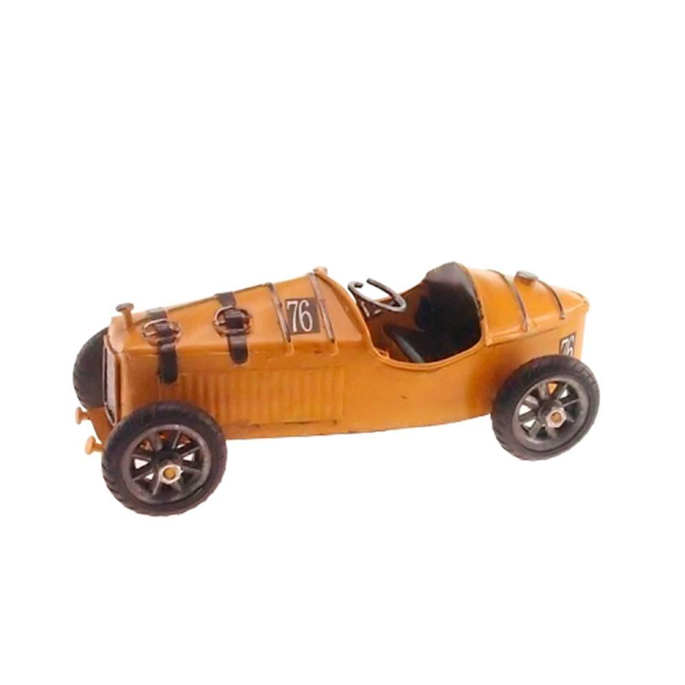 Miniatura Carro de Corrida Retrô Amarelo em Metal - 19x9 cm
