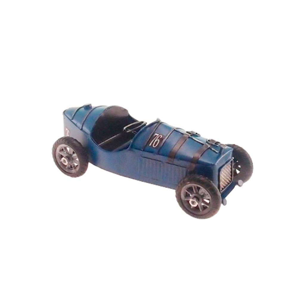 Miniatura Carro de Corrida Retrô Azul em Metal - 19x9 cm