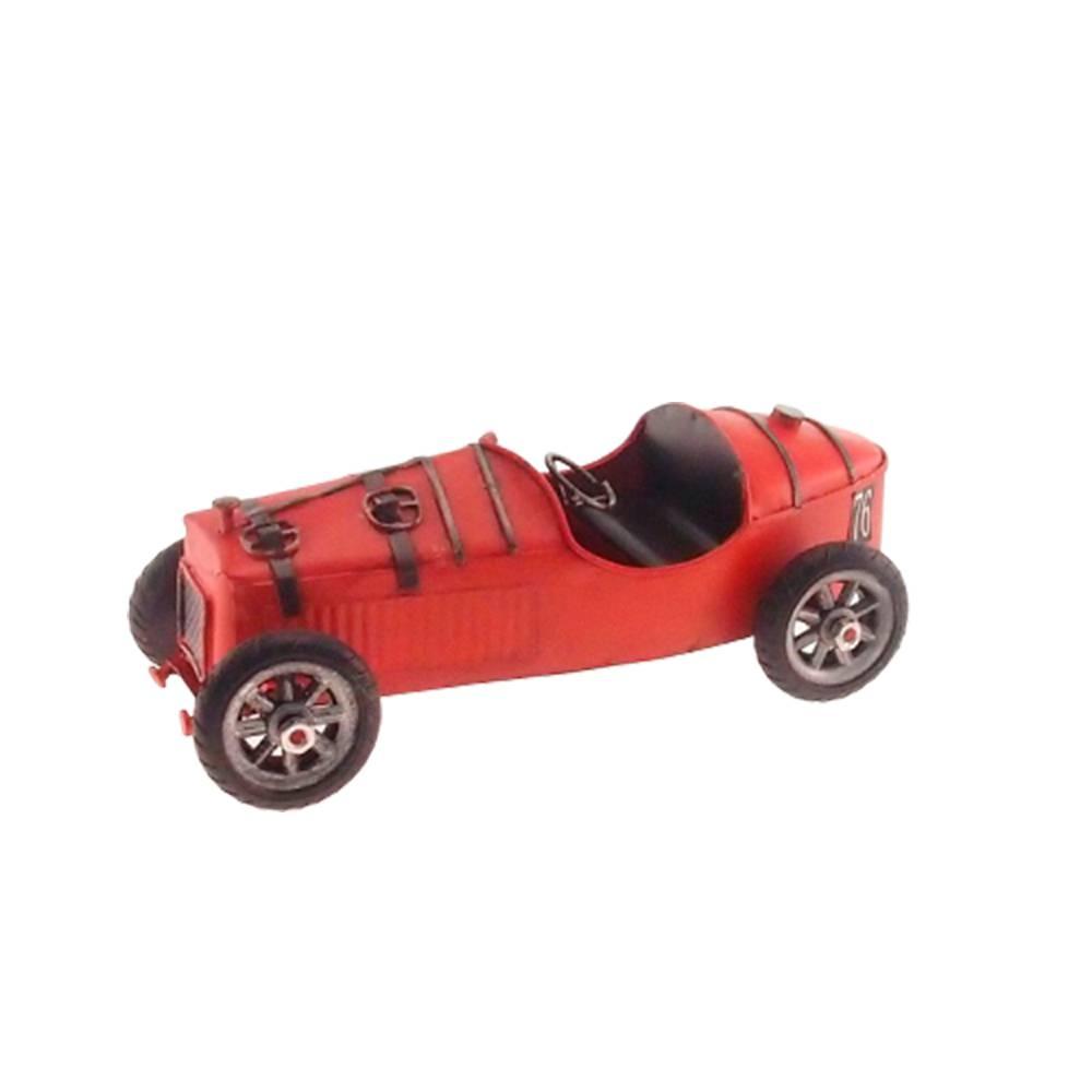 Miniatura Carro de Corrida Retrô Vermelho em Metal - 19x9 cm