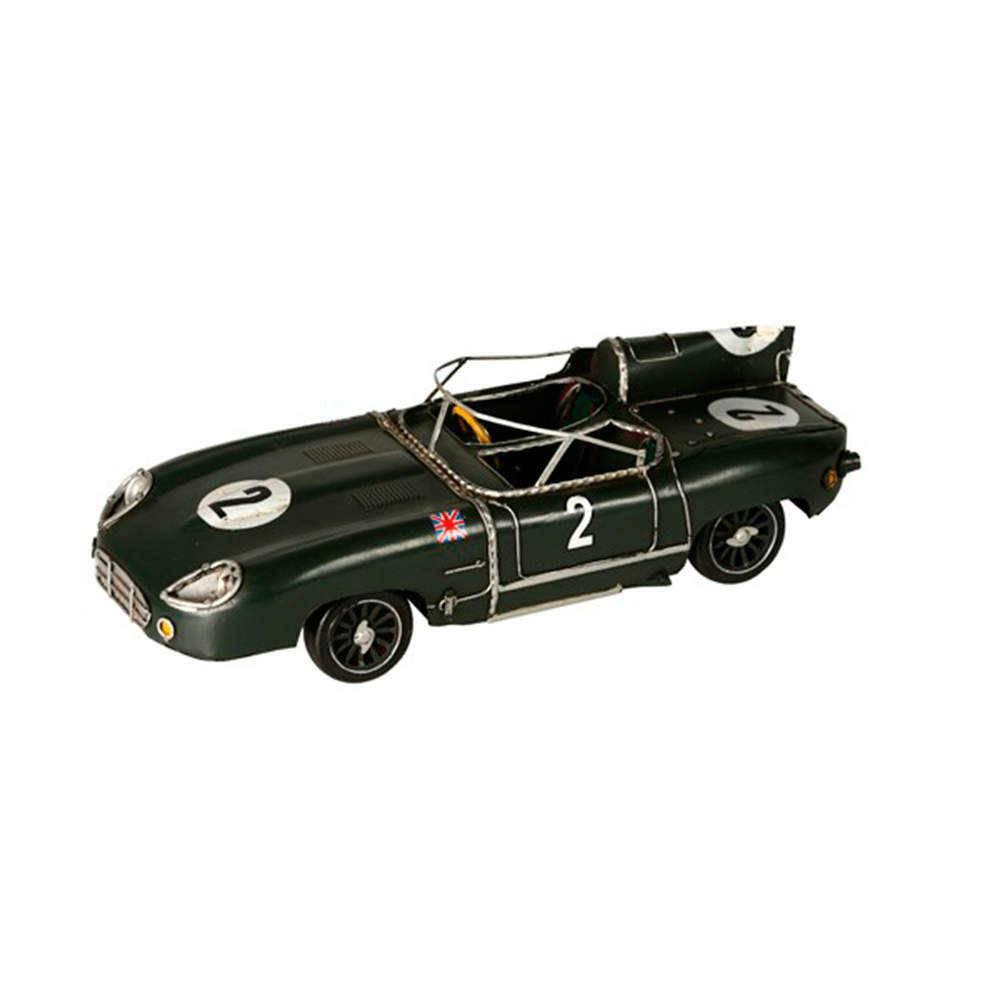 Miniatura Carro de Corrida Verde Número 2 em Metal - 34x12 cm