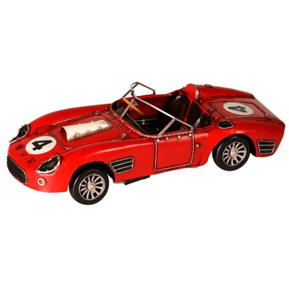 Miniatura Carro de Corrida Vermelho Número 4 em Metal - 31x12 cm