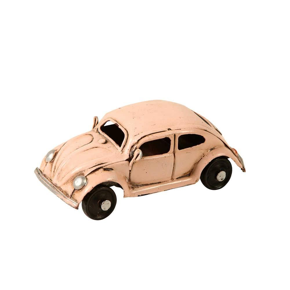 Miniatura Carro Fusca Rosa 1972 em Metal - 10x5 cm