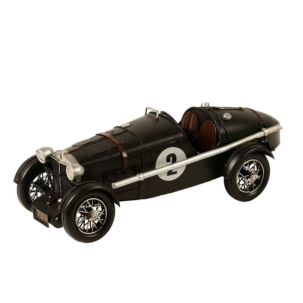 Miniatura Carro MG Nette Ano 1934 Preta em Metal - 32x12 cm