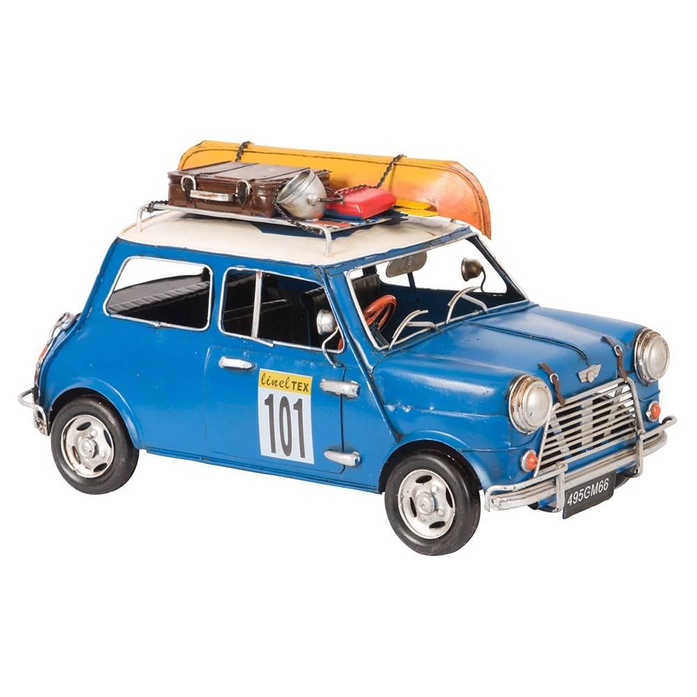 Miniatura Carro Mini Cooper Azul Modelo 1960 with Boat em Ferro - 30x16 cm