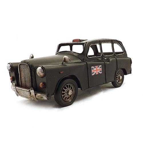 Miniatura de Carro Preto Inglês - Em Metal - 27x10 cm