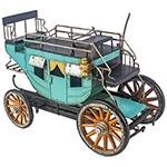 Miniatura Carruagem Azul / Amarelo Oldway - 21x31 cm