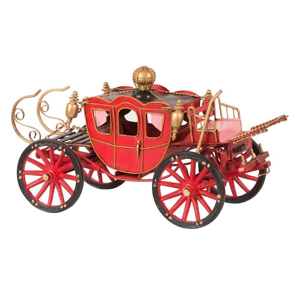 Miniatura Carruagem Modelo 1898 Spyker Car Vermelha em Ferro - 32x18 cm