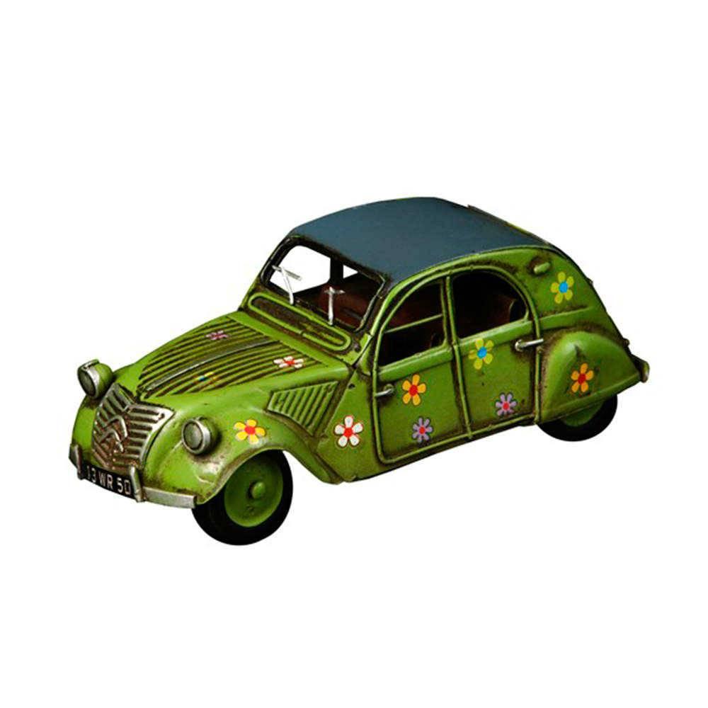 Miniatura Citroen 2CV Verde com Detalhes de Flores em Metal - 17x7 cm