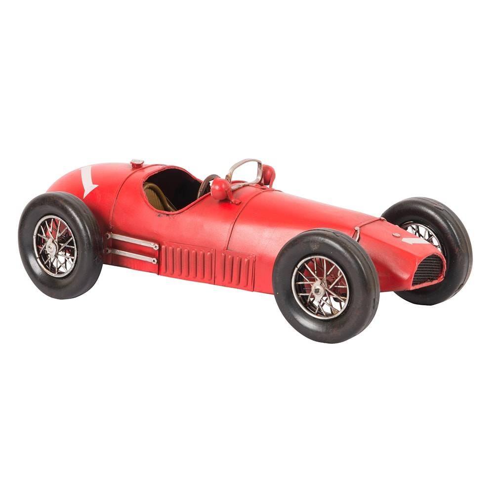 Miniatura Ferrari 500 F2 Vermelha Modelo 1952 em Ferro - 38x14 cm