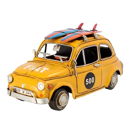 Miniatura Fiat 500 Amarelo com Pranchas Oldway - 33x17 cm