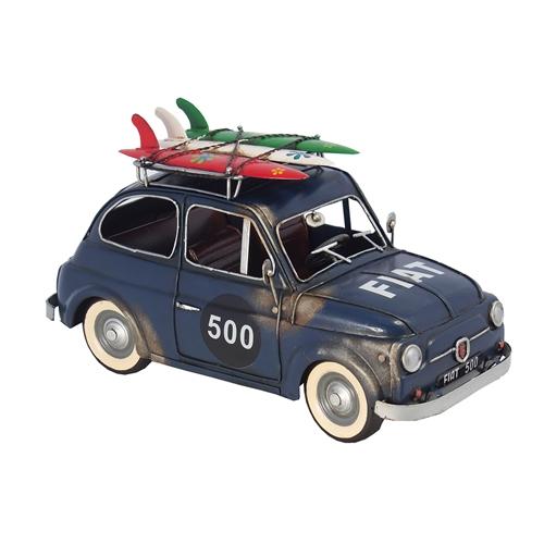 Miniatura Fiat 500 Azul c/ Pranchas Oldway - 33x17 cm
