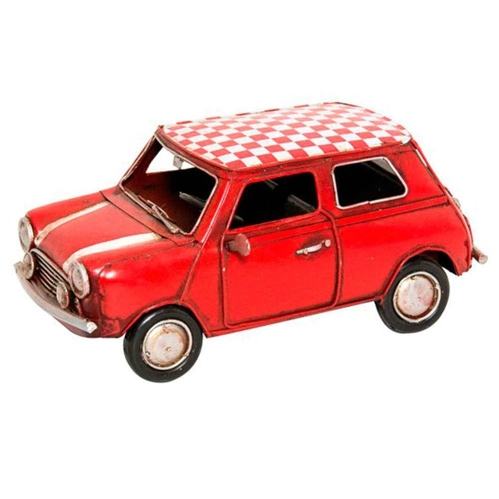 Miniatura Fiat Vermelho Quadriculado em Metal - 20x10 cm