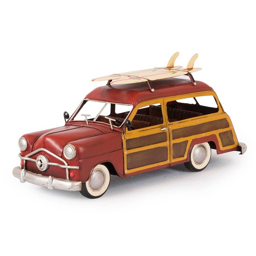 Miniatura Ford Woody Modelo 1949 Vermelho em Ferro - 36x17 cm