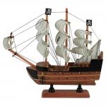 Miniatura Fragata Pirata Marrom/Branco com Âncora em Madeira - 24x22 cm