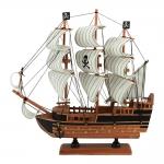 Miniatura Fragata Pirata c/ Caveiras Marrom/Bege em Madeira - 32x30 cm