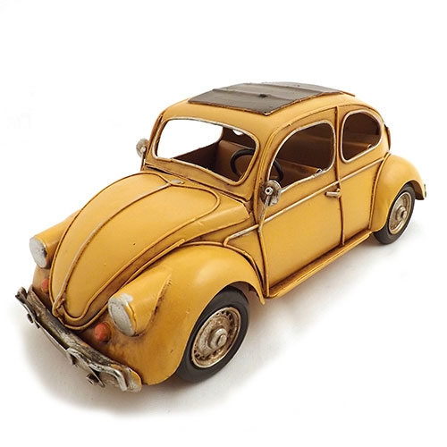 Miniatura de Fusca Amarelo Grande Oldway - Em metal - 32x14 cm