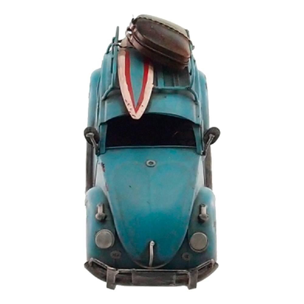 MIniatura Fusca Azul com Prancha de Surf e Mala em Metal - 30x15 cm