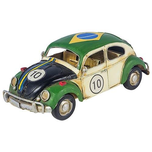Miniatura Fusca Brasil Cup Branco e Verde Vintage Oldway - 25x10 cm