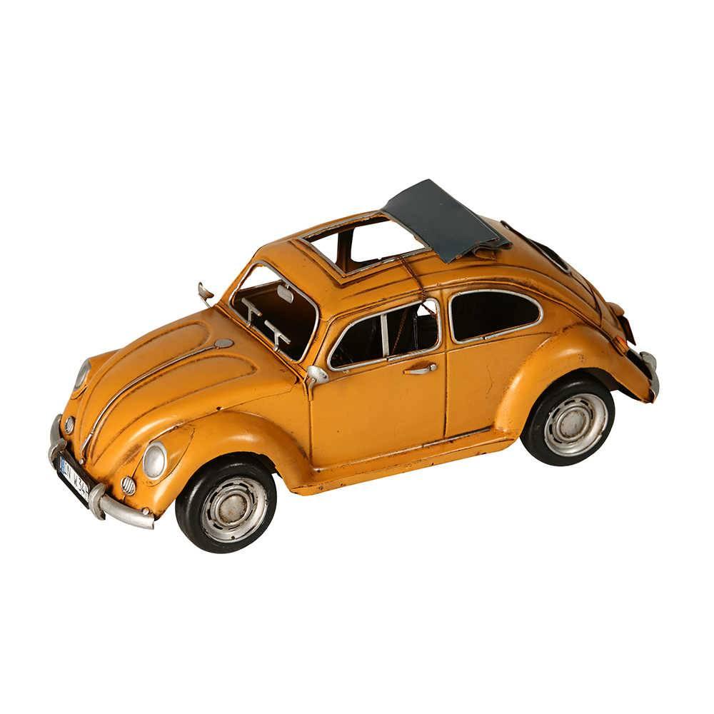 Miniatura Fusca Conversível Amarelo em Metal - 32x14 cm